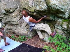 Rock Climbing Photo: Shantan starting the heel hook problem, 2003 or 20...