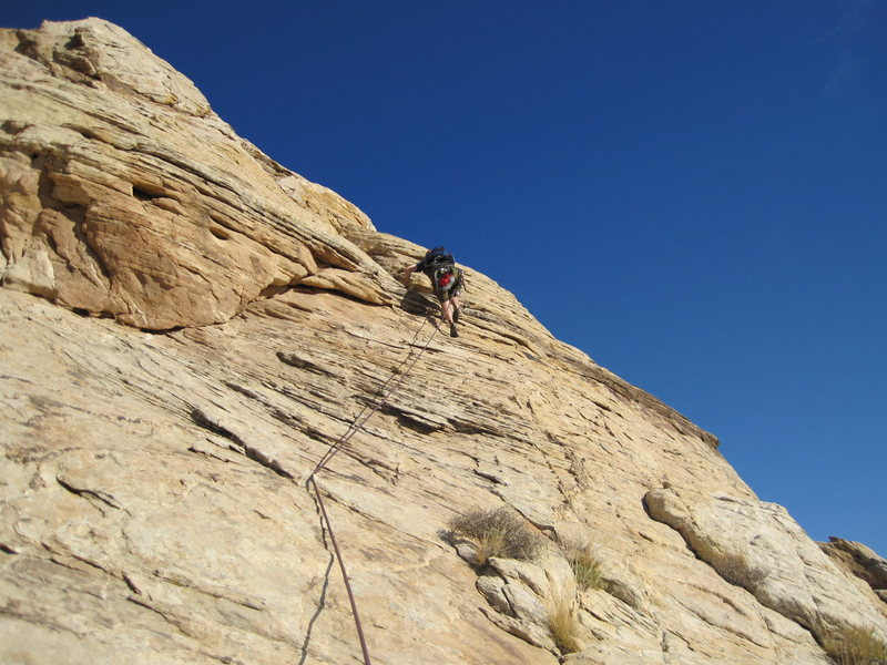 Crossing the slab on pitch 3 to the central groove