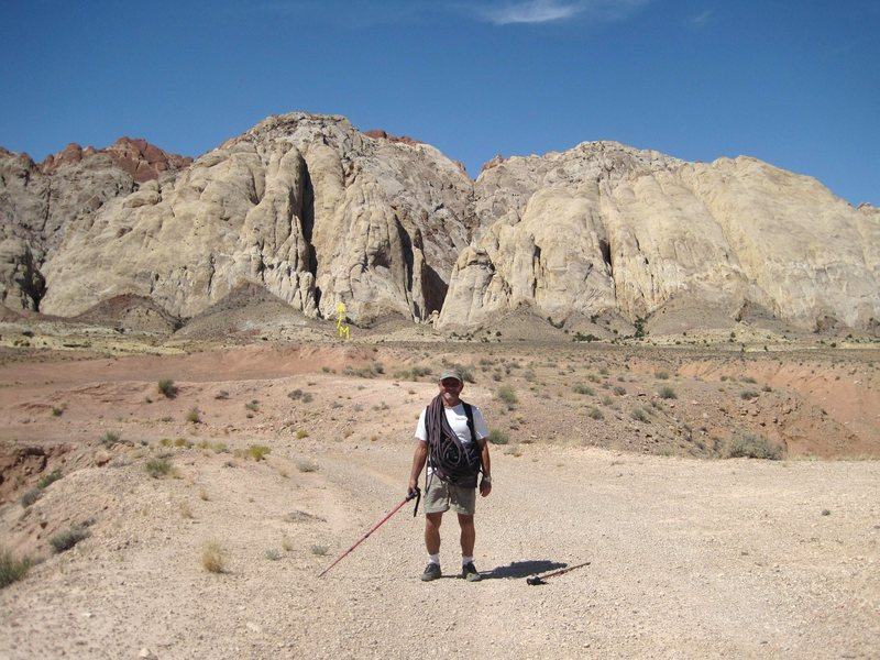 Returning to the truck and cold beer Sept 2009 ..98F... Just warm enough for slab climbing...M) The route Mellow Yellow