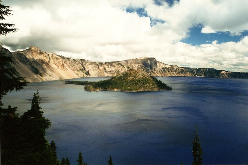 Crater Lake, I think in 2001.  Amazing place.  Wizard Island in the center.  Everyone should go on the boat tour of this place given the chance.