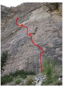 Rock Climbing Photo: General route location, two bolt anchors at each b...