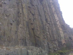 Rock Climbing Photo: The small crack 8 feet right of the obvious dihedr...