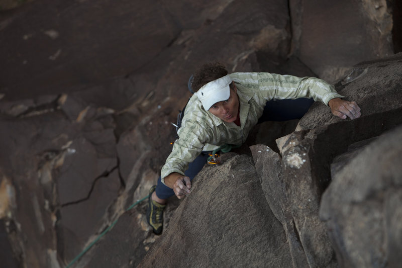 Upper arete of shared finish of Gorge Us and Out Rage Us.<br> Andrew Burr Photo