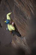 Rock Climbing Photo: Clipping the 6th bolt off the rail with the crux a...