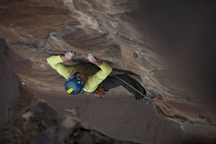 Rock Climbing Photo: Making the traverse left at the 5th bolt along the...