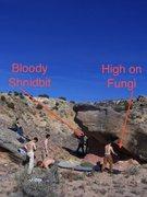 Rock Climbing Photo: Beta for Mushroom boulder showing locations of Hig...