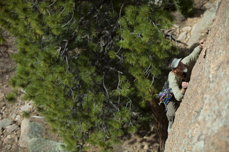 Rock Climbing Photo: First Ascentionist Bruce Holthouse on his Clean Gr...