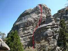 Rock Climbing Photo: Approximate route location of Riding Giants.  Clim...