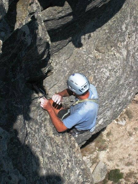 Rock Climbing Photo: Mike near the top of Riding Giants.