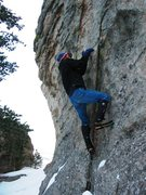 Rock Climbing Photo: Jason boulders out the start of KP109 in January 2...