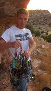 Rock Climbing Photo: Donovan at base of route