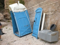 Rock Climbing Photo: The once stuck porta-potty - removed!