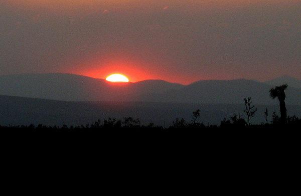 Rock Climbing Photo: Fire smoke sun set. Photo by Blitzo.