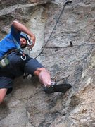 Rock Climbing Photo: Eric doesn't know whether to honor OR obey the tie...