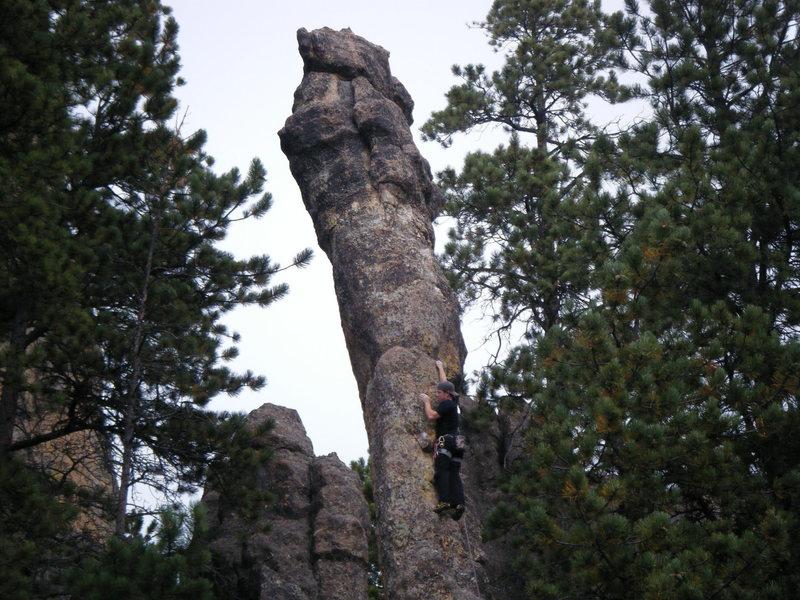 Rock Climbing Photo: Sandberg Peak, first route at the Needles, SD.