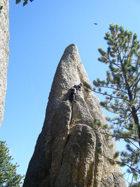Tent Peg, first &quot;Needles&quot; route with the vultures circling in.<br> <br> - photo by Tara Reed.