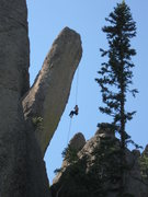 Rock Climbing Photo: Rapping off the Leaning Tower, Needles, SD.  - pho...