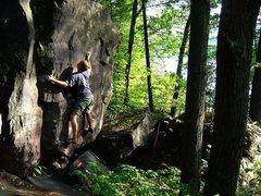 Rock Climbing Photo: Super fun boulder, this problem has a pretty scary...