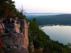 Rock Climbing Photo: Looking north towards Baraboo, sunrise, September ...