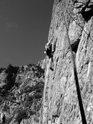 Rock Climbing Photo: Dan climbing Quality. first to second bolt was tri...