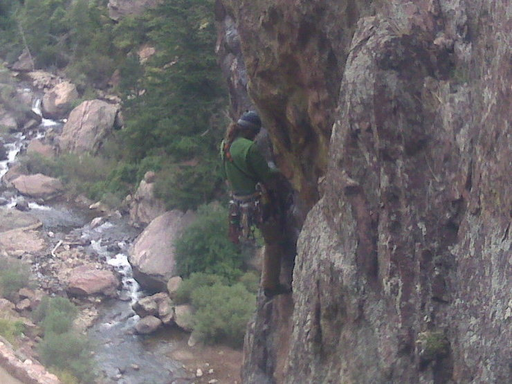 Bobby workin' the spicy moves on west arete.