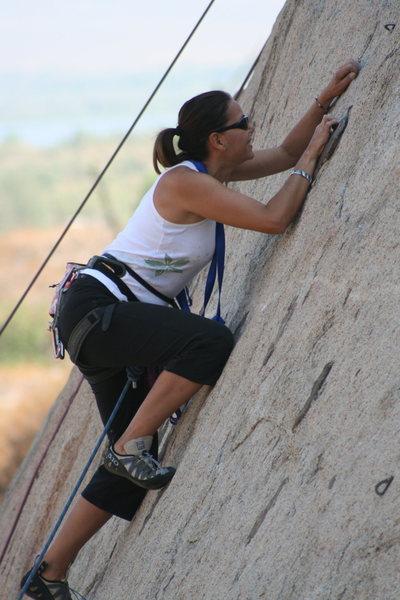 Agina on lead on Pudnerdal 5.8.<br> 9-13-09