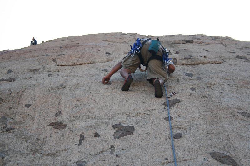 Rock Climbing Photo: Al starting up Pudnerdal. 9-13-09