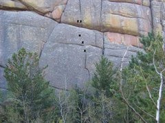 Rock Climbing Photo: Take 5 topo showing the 3 bolts and anchors. Note ...