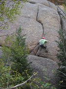 Rock Climbing Photo: Jeff getting into the main crack system on Take 5.
