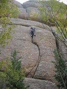 Rock Climbing Photo: Shane working through the crux seam on take 5.