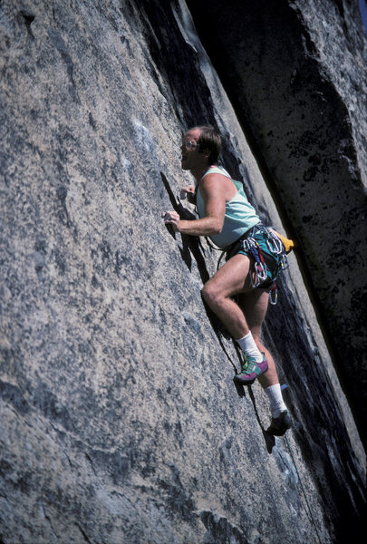 Rock Climbing Photo: Initial thin edge pulling and high step commitment
