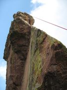 Rock Climbing Photo: Green - rappel path, red - tough pull.
