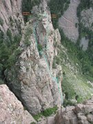 Rock Climbing Photo: West Ridge (5.7), The Frog, Sandia Mountains, NM. ...