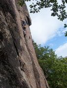 Rock Climbing Photo: Alex on the 2nd ascent of parallel passage 5.9