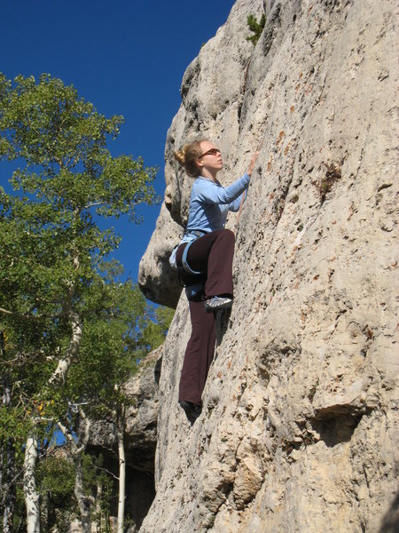 Rock Climbing Photo: Enjoying the easy slab section of Buckskin Billy.