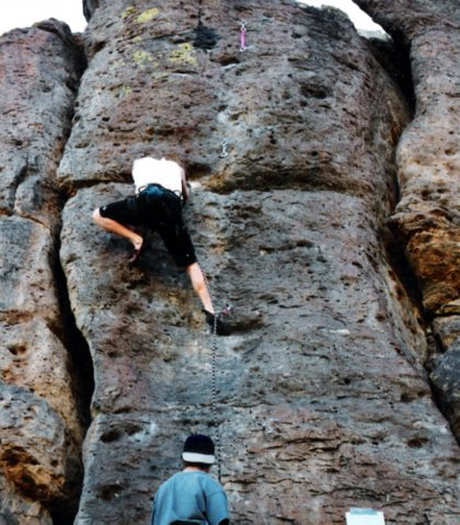 Unknown climber on Huecos during an early 90's Meltdown competition.