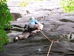Rock Climbing Photo: First pitch of Toads R Us at Cedar Rock