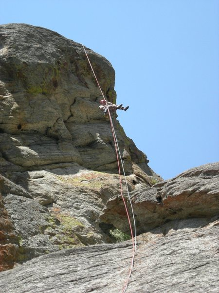 "The ""free"" portion of the rappel."
