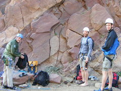 At the Base of the Bastille Crack with the late Craig Luebben, Matt and Craig V. Great day! No need to ever climb this again, the memory of following Craig's lead up will never be replaced.