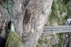 Rock Climbing Photo: Airy view from the anchors at P3!  This is a great...
