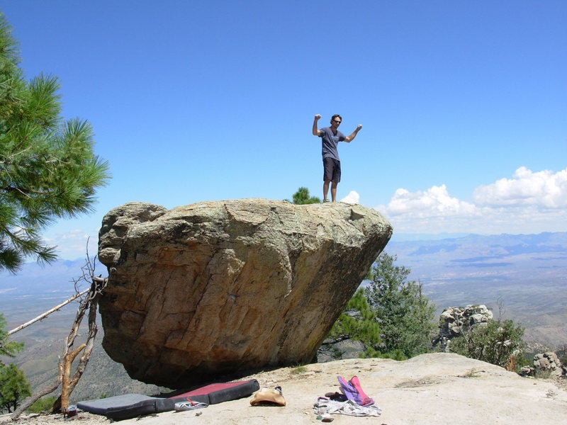 You can only pump fists if you have a sweet pink backpack! Easy to have a great time at this boulder. Fun climbing and a great setting.
