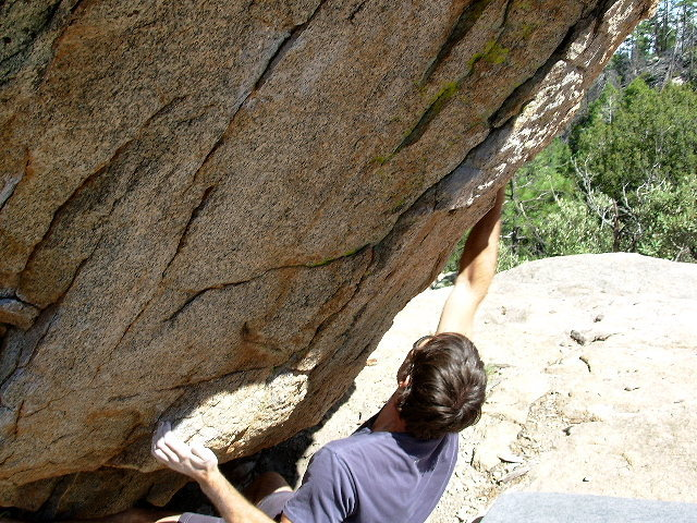Rock Climbing Photo: Brent snatching the good right hand that is the st...
