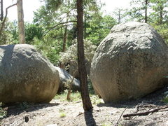 "Rock Climbing Photo: RCE boulders: ""A"" on the right and &quot..."