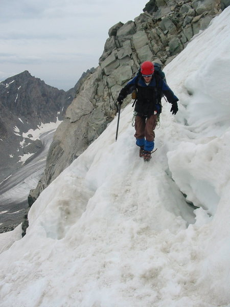Rock Climbing Photo: Crossing the the bergschrund on the snowbridge in ...