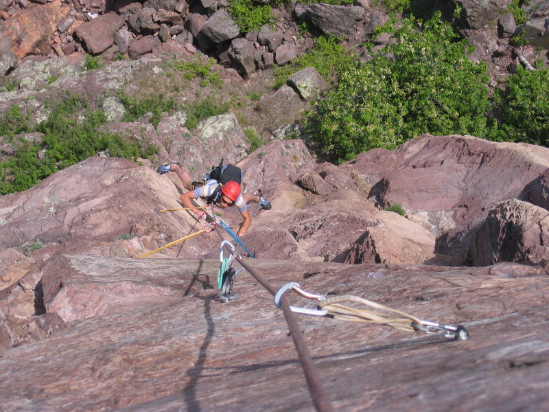 Rock Climbing Photo: david in the amazing stemming section (also the cr...