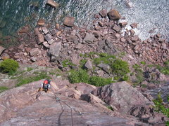 Rock Climbing Photo: david at the top of the flake section (out of view...