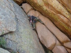 Rock Climbing Photo: Gary leading up the crux start.