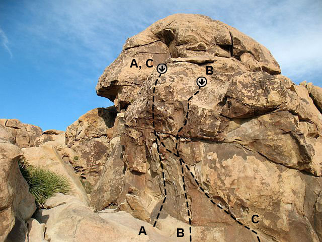 Photo/topo for Ben Dover Wall, Joshua Tree NP<br> <br> A. Ben Dover (5.10b)<br> B. The Pincher (5.9)<br> C. Eileen Dover (5.10b)