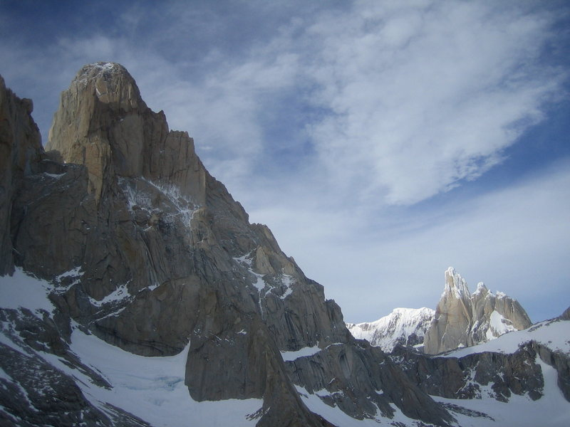 Fitz-Roy:  the Casarotto Pillar, the top of Tehuelche, the Afanasseif Ridge, with the Torres in the background