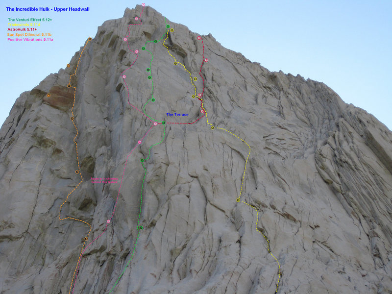 Rock Climbing Photo: A topo overlay for some of the upper pitches on th...